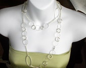SALE Light Weight Silver Plated Circles, Opera Length High Quality Chain Necklace BEAUTIFUL