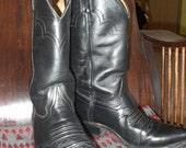 SALE Nice Vintage JUSTIN Men's Black Leather Cowboy Biker Boots Size 10 1/2 EE, Great Condition