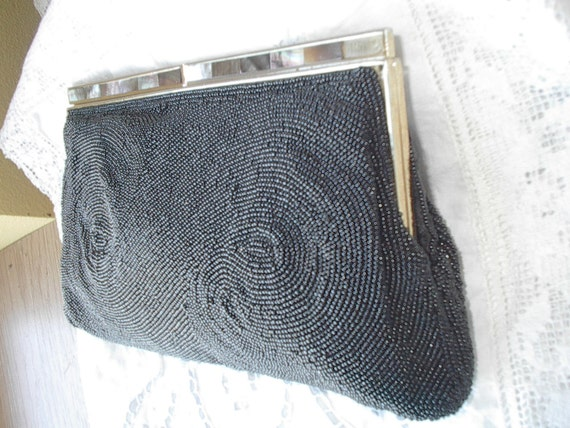 Beautiful 1950s Era WALBORG  Black Beaded Clutch With Mother Of Pearl Decorations High Quality