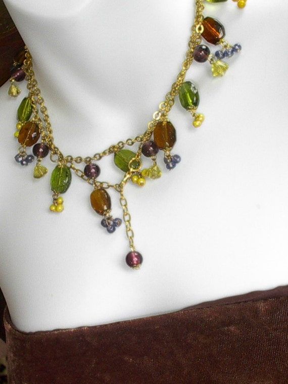 Gorgeous Gypsy Boho Necklace, Various Shapes, Colors and Size Glass Beads on Goldtone Chain, Wonderful Condition