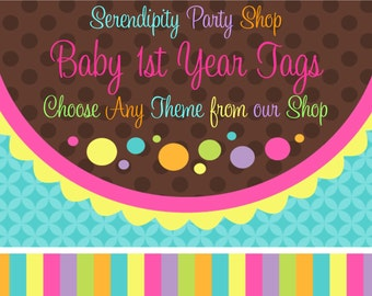 Baby's 1st Year Tags -Choose ANY Theme In Our Shop
