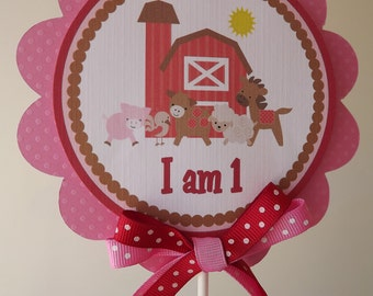 NEW...Red and Pink Girly Farm Collection Cake Topper