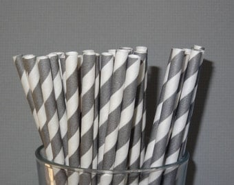 NEW to Serendipity Party Shop- Gray Striped Paper Straws