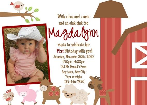 Girly Farm Theme Invitation- Printable File