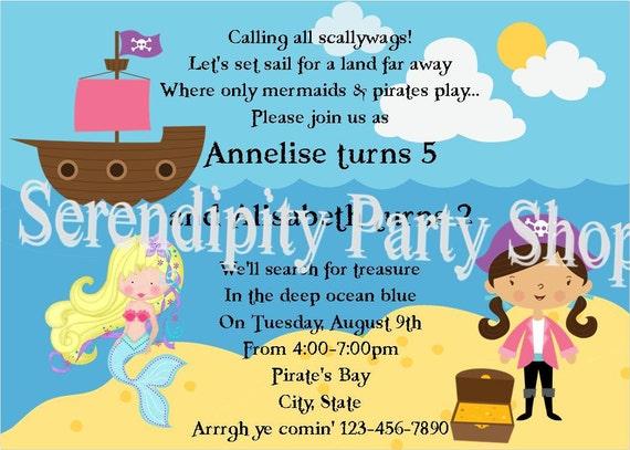 Mermaids and Pirates -Digital Invitation