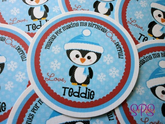 Red and Blue Penguin Winter Onederland Tags
