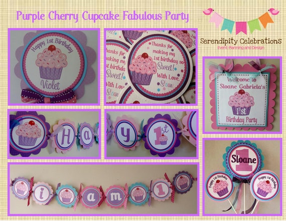 Fabulous Purple Cherry Cupcake Collection Party Package Custom Made For You