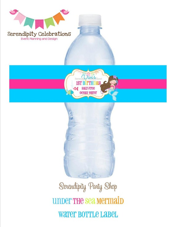 NEW...Under the Sea Mermaid Collection Water Bottle Label -Digital File