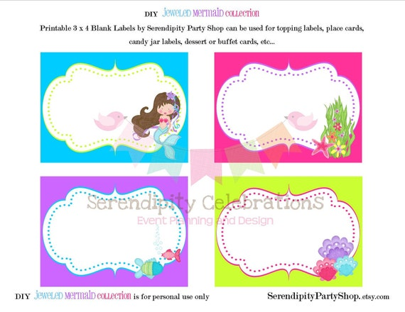 Jeweled Mermaid Party Labels -DIY Digital File