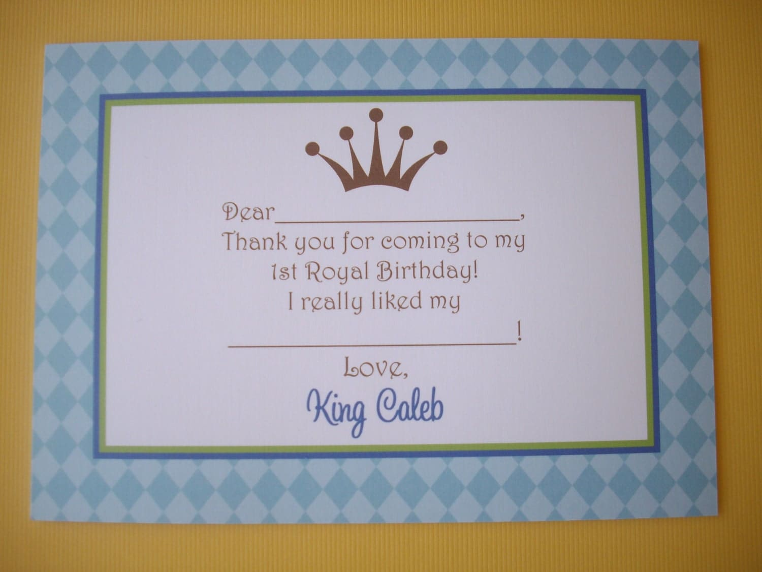King's Royal Event Thank You Note Card