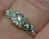 Vintage Engagement Ring. White Gold, Tudor Rose, Witches' Hearts