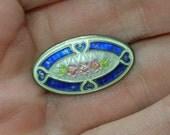 Small Enamel Brooch, English Silver, Edwardian Baby Pin, Guilloche work, Art Deco