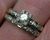 Vintage Wedding Ring Set: Classic 1940s Illusion Head Beauty