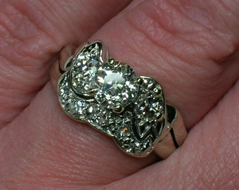 Vintage Wedding Ring Set .84 Old Mine Cut Diamond, White Gold, Appraisal
