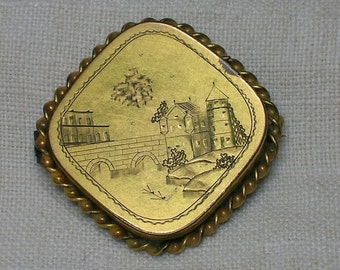 Antique Brooch, Aesthetic Era. Hand Engraved Castle & Moat, C Clasp 1880s