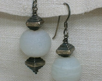 925 Silver Earrings, Frosted White Lampwork Beads. Modern & Ancient!