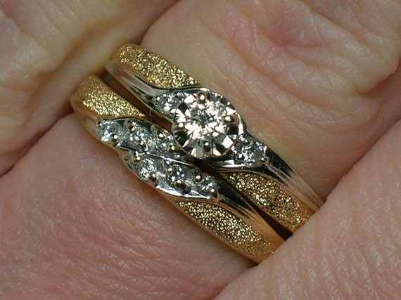 Vintage Wedding Rings Set 1960 Textured Twotone Solitaire