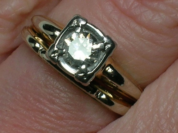 REDUCED: Vintage Wedding Rings Set. Late Art Deco, 1930s Diamond Solitaire & Band