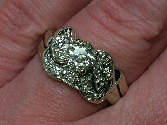 Wedding Ring Set .84 Old Mine Cut Diamond. White Gold, VS2 I, Appraisal. Size 6 1/4