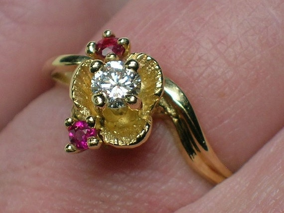 Diamond Engagement Ring, Vintage: 1970s Ruby Flower by Northwest