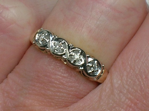 Vintage Diamond Wedding Band: Renaissance Swirls in TwoTone Gold