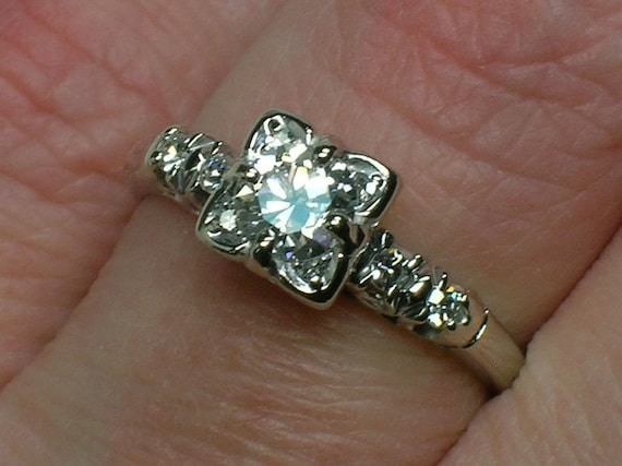 RESERVED FOR S: Vintage Engagement Ring. Diamonds in Every Corner, Exquisite EuroCut