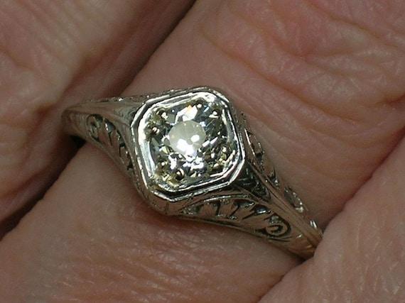 Antique Engagement Ring: Old Mine Cut Diamond, Platinum Filigree