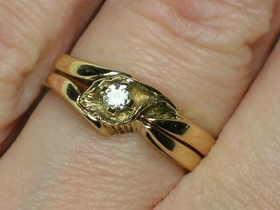 Vintage Diamond Wedding Ring Set: Northwest Rustic Leaf c1970s