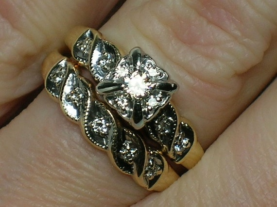 Vintage Wedding Rings Set: Diamond Cluster Head, c1950s