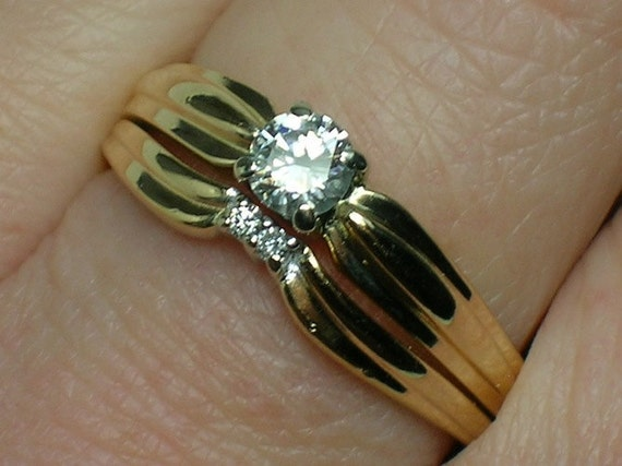 Vintage Wedding Ring Set: Preppie Retro, 14K Gold & Diamonds