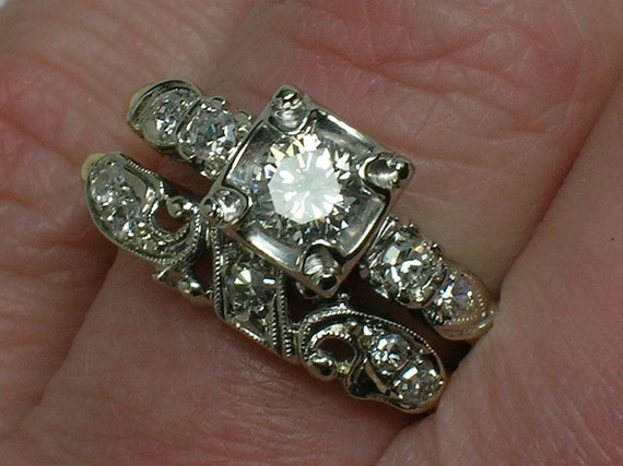 RESERVED: Vintage Wedding Ring Set. Stunning, Large, Ornate late 1930s