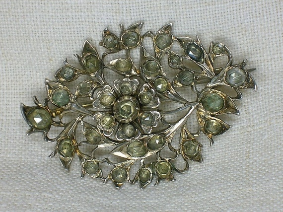 Georgian Era Brooch, Rose Cut Jargoons in Silver, Stomacher Bridal SCA