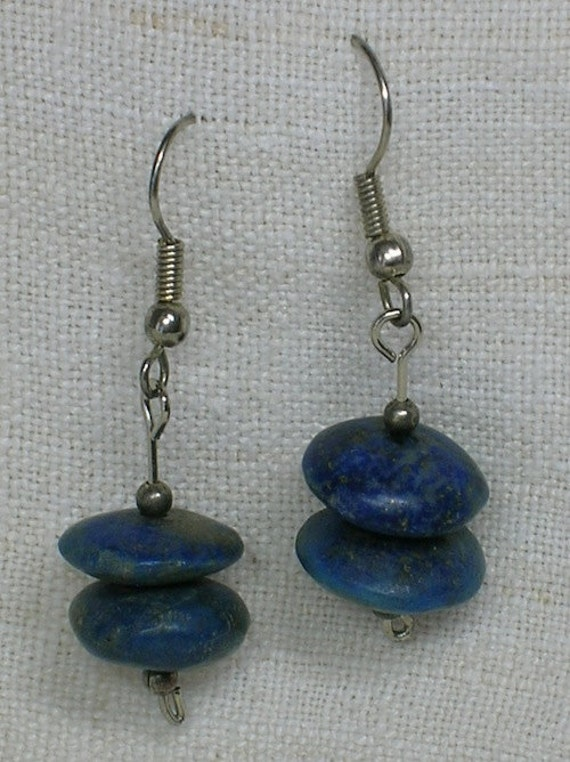 Vintage Lapis Lazuli Earrings: Denim Colored Ancient SpindleWhorl Beads