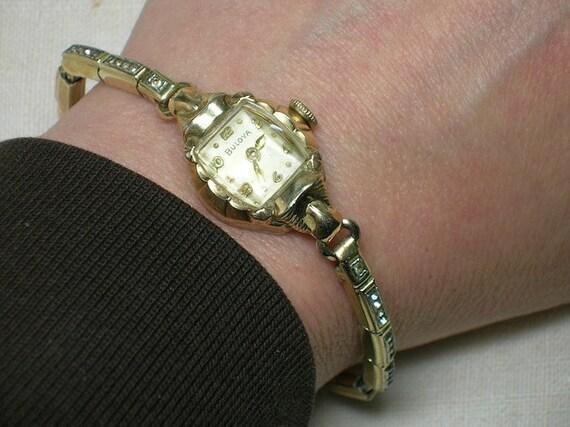 Vintage Bulova Watch: Ornate lady's model with Rhinestones