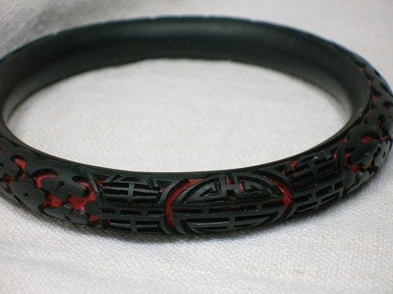 Vintage Bracelet: Black Cinnabar Bangle