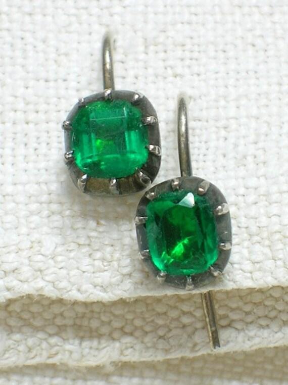 Regency Era Earrings: Georgian Emerald Pastes. Darling