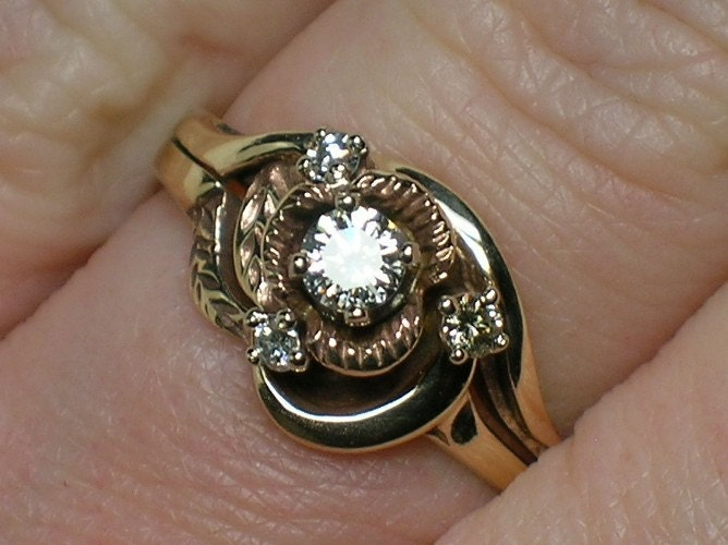 country wedding ring sets vintage wedding rings set rustic northwest 1970s 3133