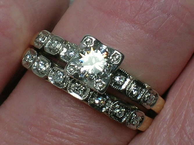 Vintage Wedding Ring Set Classic 1940s Illusion Head Beauty