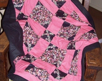 Beautiful OOAK nine patch fleece and cotton patchwork blanket for child or infant