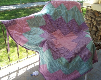 OOAK Summer Picnic Blanket with Gingham Patchwork, Quilting and handle