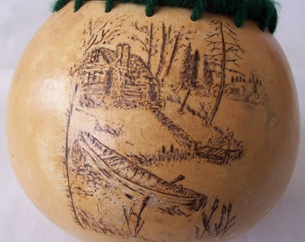 pyrography cabin and canoe at the lake gourd art bowl