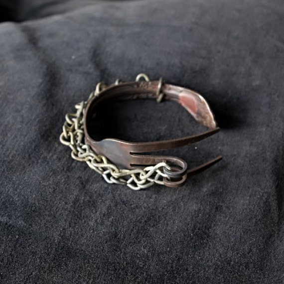 Charred Fork Bracelet with Charred Chain