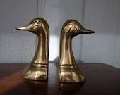 Vintage Brass Mallard Bookends