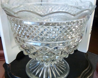 Large Vintage Diamond Cut Crystal Compote