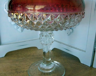 Ruby Red Diamond Point Compote