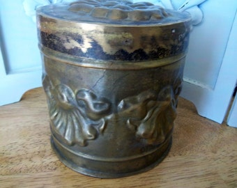 Vintage Brass Covered Tobacco Tin