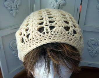 French Vanilla Ultra Soft Microfiber Crocheted Slouch