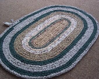 Repurposed OVAL Crocheted Rag Rug 42 x 28