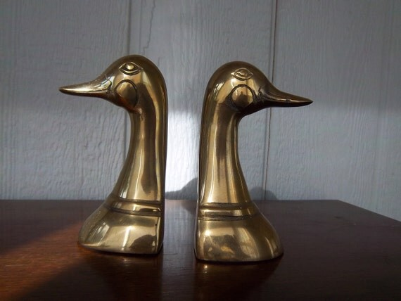 Vintage Brass Mallard Bookends