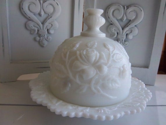 Imperial Glass Open Rose covered Butter Dish